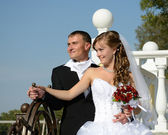 Bride and groom at the helm of the family ship. Happy together. — Stock Photo