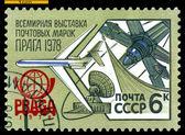 复古邮票。集邮展览普拉 78. — 图库照片