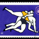 Постер, плакат: Vintage postage stamp Classical Wrestling