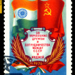 Vintage  postage stamp.  Flags of  USSR and  India.  — Stock Photo