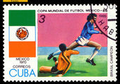 Vintage postage stamp. World Cup Soccer in Mexico. 1970. — Stock Photo