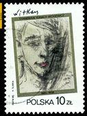 Vintage postage stamp. Stanislaw Witkiewicz. Self - portrait. — Stock Photo