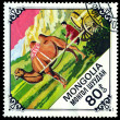 Vintage postage stamp. Camel pulling cart. — Stock Photo #32893659