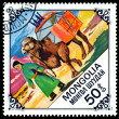 Vintage  postage stamp. Woman leading pack Camel. — Stock Photo