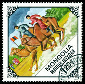 Vintage postage stamp. Racing on camel. — Stock Photo
