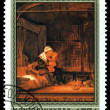 Vintage postage stamp. Rembrandt. Holy Family with Drape. — Stock Photo #33396743