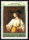 Vintage postage stamp. Rembrandt. Hendrik like Flora. — Stock Photo