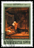 Vintage postage stamp. Rembrandt. Holy Family with Drape. — Stock Photo