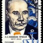Постер, плакат: Vintage postage stamp Writer A S Novikov Priboy