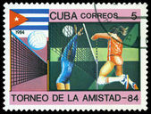 Vintage postage stamp. Women's Volleyball. — Stock Photo