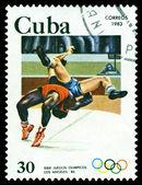 Vintage postage stamp. Summer Oiympics, Wrestling. Los Angeles — Stock Photo