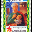 Vintage postage stamp. Mother and child. — Stock Photo