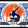 Stock Photo: Vintage postage stamp. IX Globe Congress on Microbiology.
