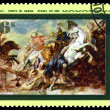 Stock Photo: Vintage postage stamp. Lion Hunt by Rubens.