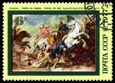 Vintage postage stamp. Lion Hunt by Rubens. — Stock Photo