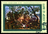 Vintage postage stamp. Workers Quarry in by Rubens. — Stock Photo