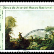 Stock Photo: Vintage postage stamp. Landscape with Figures, by J. Pilliment