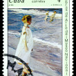 Stock Photo: Vintage postage stamp. Girl, by J. Sorolla.