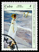 Vintage postage stamp. Girl, by J. Sorolla. — Stock Photo