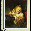 Vintage postage stamp. Rembrandt. WomTruing on Earrings, b — Stock Photo #39353775