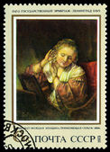 Vintage postage stamp. Rembrandt. Woman Truing on Earrings, b — Stock Photo