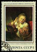 старинные почтовая марка. рембрандт. женщина, центровка на серьги, b — Стоковое фото