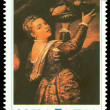 Stock Photo: Vintage postage stamp. Salome with Head of John Baptist