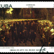 Постер, плакат: Vintage postage stamp Procession in Britain by J Breton