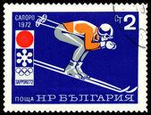 Vintage estampilla. Juegos de skier.olympic de montaña en sapporo — Foto de Stock