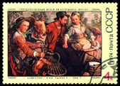 Vintage  postage stamp. The Marketplace,  by Beukelaer. — Stock Photo