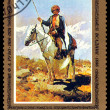 Vintage postage stamp. Picture Horesman, by F. A. Roubeau. — Stock Photo