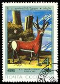 Vintage posta pulu. geyik, n. a. Pirosmanaşvili tarafından. — Stok fotoğraf