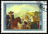 Vintage  postage stamp. Travelling companions, by  U. M. Dzhapar — Stock Photo