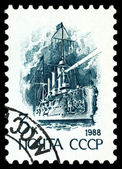 Vintage  postage stamp. Cruiser Aurora. — Stock Photo