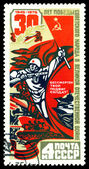 Vintage  postage stamp. Russian Soldier with Gun. — Stock Photo