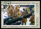 Vintage  postage stamp. Soldiers Inspecting Captured Artillery , — Stock Photo