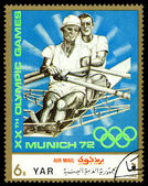 Vintage  postage stamp. Rowing, kayak. — 图库照片