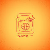 Orange jam doodle on color background — Stock Vector