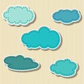 Conjunto de etiquetas de papel en forma de nube — Vector de stock