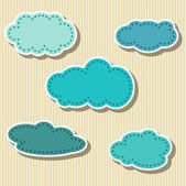 Set of Cloud-shaped Paper Tags — Stok Vektör