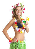 Attractive Caucasian girl with Margarita drink — Stock Photo