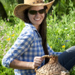 Beautiful brunette cowgirl — Stock Photo