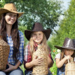 Portrait of cowgirls — Stock Photo
