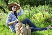 Brunette cowgirl — Stock Photo