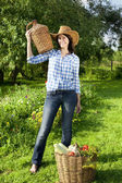 Caucasian young woman in cowboy hat — Stock Photo