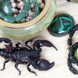 Emperor Scorpion with women's adornment — Stock Photo