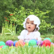 Little girl play with balls outdoors  — Stock Video