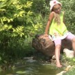 Little girl near the pond — Stock Video