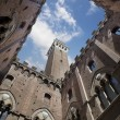 Stock Photo: Palazzo Comunale Courtyard with Torre del Mangiin Siena