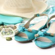 Stock Photo: Female accessories with turquoise shoes
